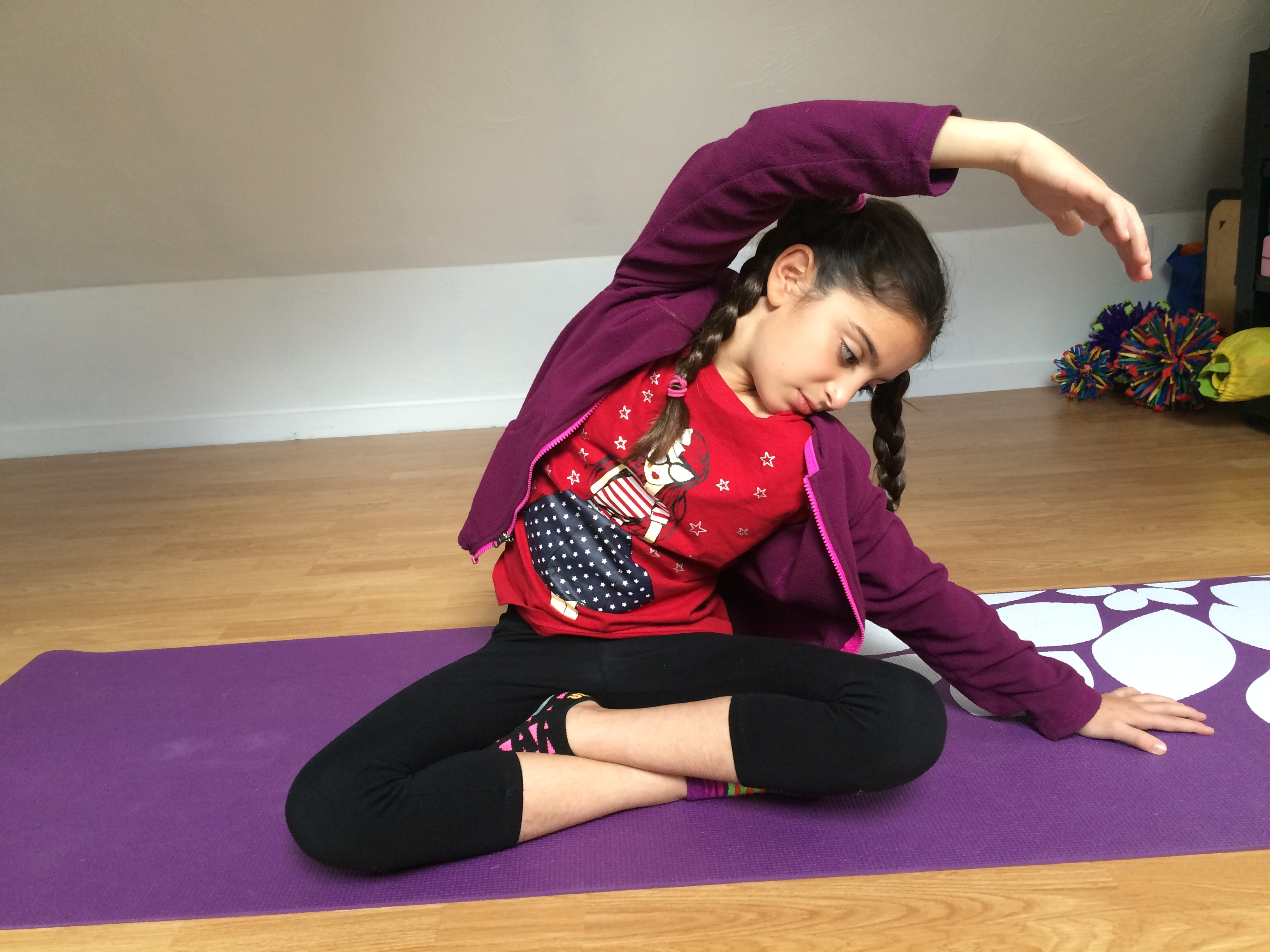 preteen stretch ds and knees to explore this again: cat and cow (once again noting the flexion and extension of the spine), easy kneeling twist with a chicken wing pose and ...